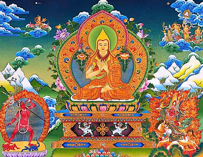 Lama Je Tsongkhapa is the Enlightened founder of the Gelugpa tradition.