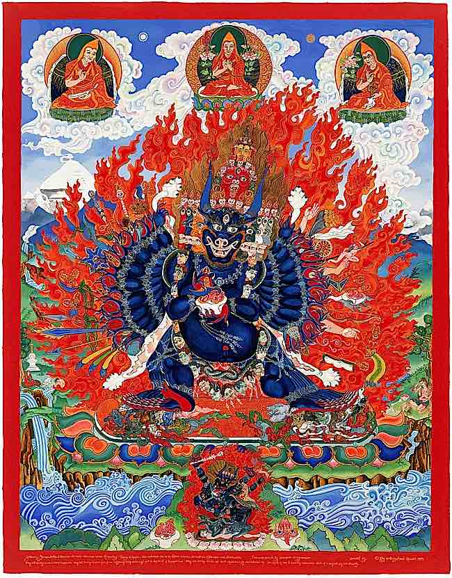 Yamantaka, the Death Destroyer, arguably the fiercest of all the fierce deities in Buddhism, is a highest yoga tantra practice. Yamantaka helps practitioners with obstacles to practice, and particularly with anger.