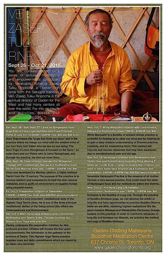 Buddha-Weekly-Zasep Rinpoche Gaden Choling Toronto Sept-Oct 2015-Buddhism