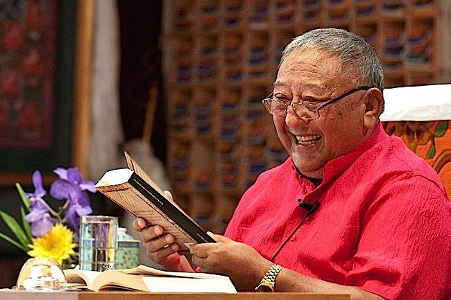 Gelek Rinpoche of Jewel Heart often laughs during teachings.