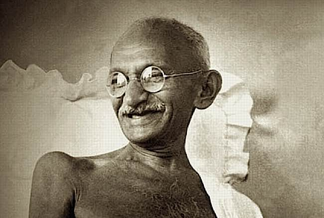 The great Mahatma Gandhi laughing.