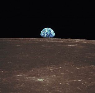 Buddha Weekly View from the Apollo 11 shows Earth rising above the moons horizon Buddhism