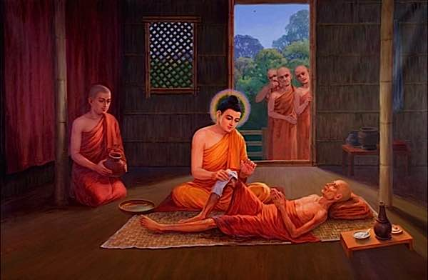 The Blessed One Buddha Personally Tended To Sick When Others Feared
