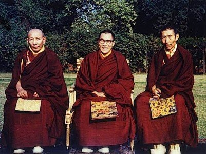 An early 1956 photo of the H.H. Dalai Lama (centre) H.H. Trijang Rinpoche (left) and H.H. Zong Rinpoche (right) .