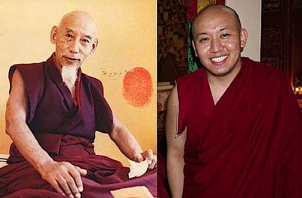 On the left, H.H. Kyabje Zong Rinpoche, teacher of Zasep Rinpoche; on the right the current incarnation of Zong Rinpoche.