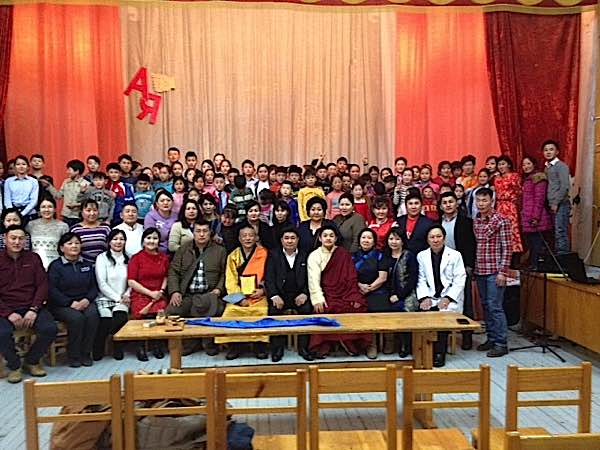 Rinpoche with the students of Ulaan Baatar School for the Disabled in Mongolia. Prior to this photo, the students performed.