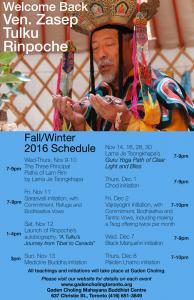 Venerable Zasep Tulku Rinpoche Teaching in Toronto Fall winter 2016