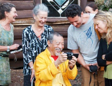 Outside of formal teachings, Rinpoche enjoys a laugh with students.