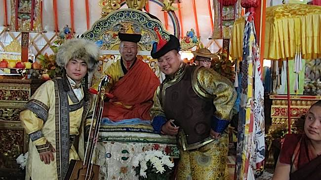 Zasep Rinpoche at formal teachings in Mongolia.