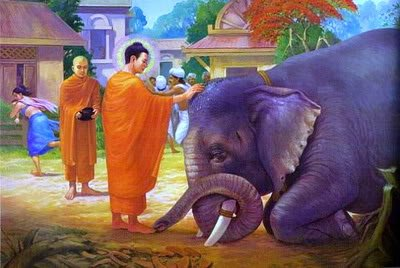 Buddha Blesses an Elephant