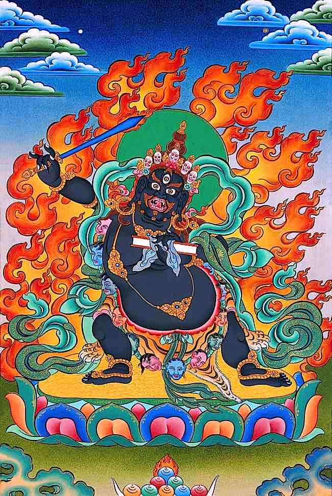 Although any meditational deity is helpful in focusing the mind on healing the body, Black Manjushri is effective, according to students and teachers, for aggressive diseases such as Cancer.
