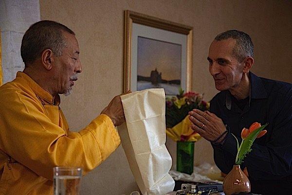 Venerable Zasep Tulku Rinpoche (left) with Theodore Tsaousidis (right)