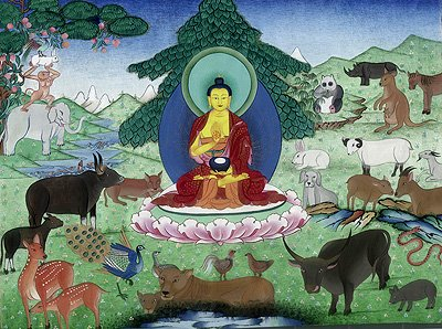 Buddha blesses an elephant. Buddha taught that all animals have Buddha Nature.
