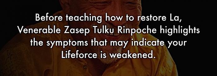 """What the Teachers Say"" Video Series: Buddhist Teachings on La Gug — Restoring Life Force Vitality — from a Weekend Retreat on La Gug with Venerable Acharya Zasep Tulku Rinpoche. Part 1 — ""Symptoms Your Life-force is Weakened"""