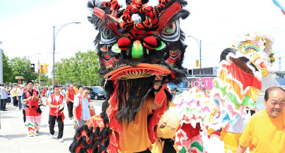 Lion dance in parade for Vesak Day May 28, Mississauga
