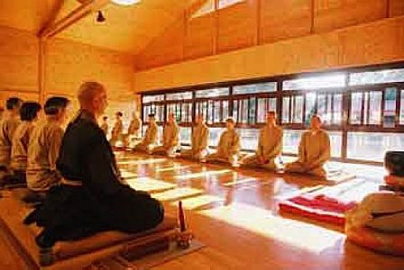 Zen meditation at Rinzai Zen Hall in a formal group setting.