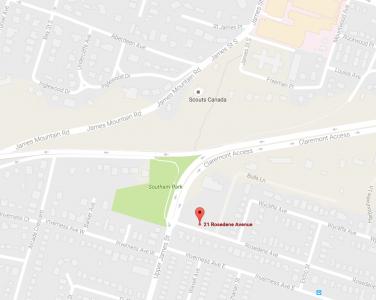 Map to 21 Rosedene Avenue Hamilton ontario