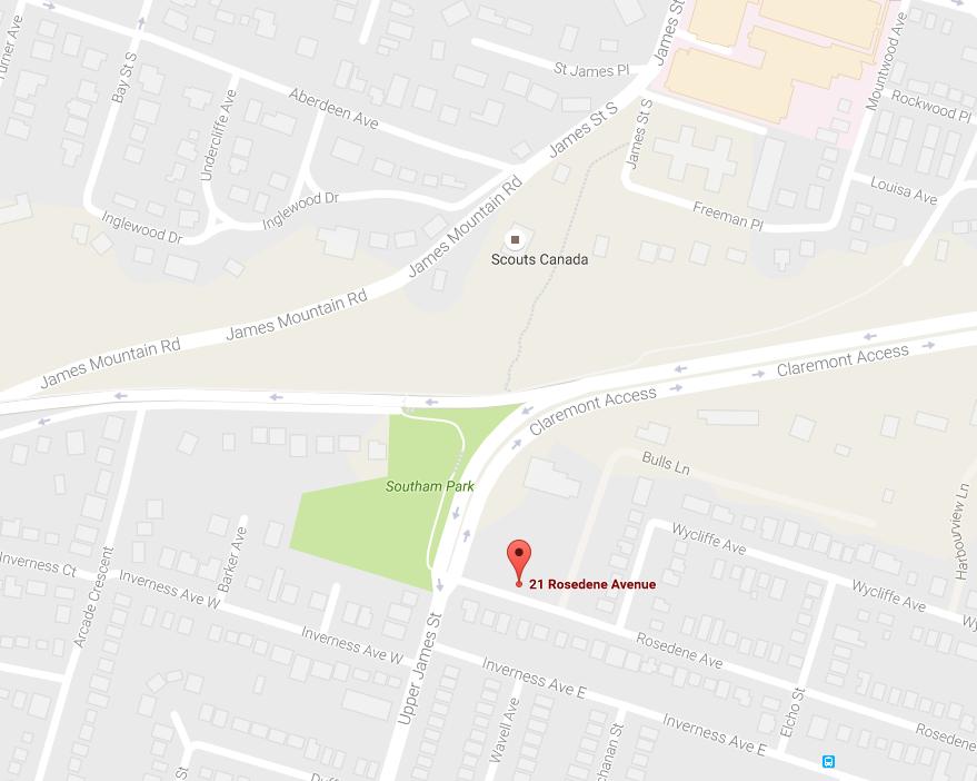 Map to 21 Rosedene Avenue, Hamilton ontario