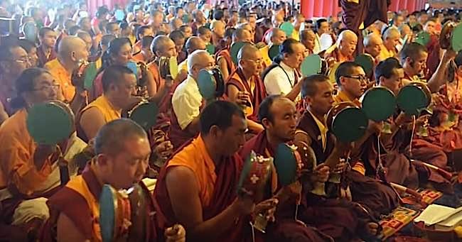 Chod practice with Dudjom Yangsi Rinpoche, Samje Djedren Ani Gompa in Nepal, 2014.