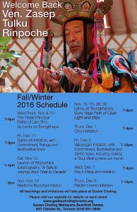Buddha Weekly Zasep Tulku Rinpoche Events Fall 2016 Gaden Choling.com Buddhism