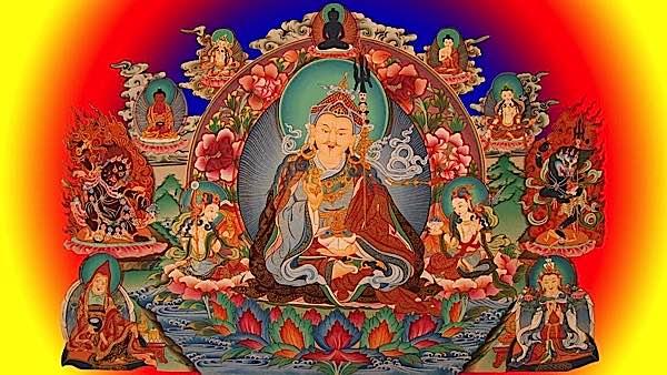 Guru Rinpoche surrounded by Buddhas, Bodhisattvas, Dakinis and Wrathful Deities.