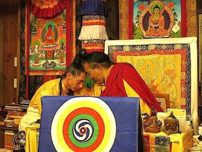 Buddha Weekly Alejandro and Dzogchen Khenpo Choga Rinpoche touching heads Buddhism