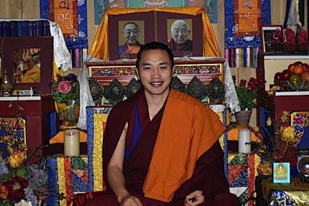 Buddha Weekly Chaphur Rinpoche in front of teachers and Dalai Lama Buddhism