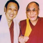 His Holiness Menri Trizin 33rd left and H H the Dalai Lama right