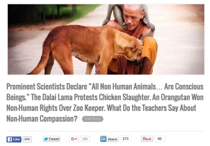 Scientists declare all non human animals conscious buddha weekly popular story