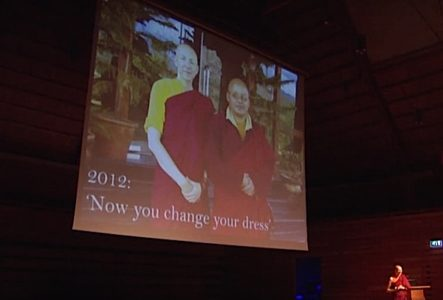 Buddha Weekly Emma Slade at Ted Talks and her Teacher in 2012 in background Buddhism