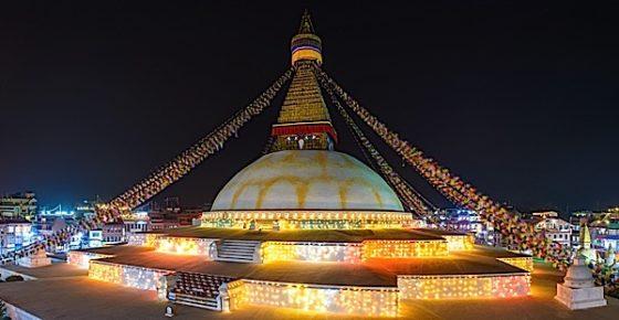 Buddha Weekly Nepal stupa decorated for Losar Buddhism