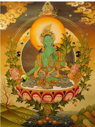 Green Tara on a Lotus with Amitabha on her crown.