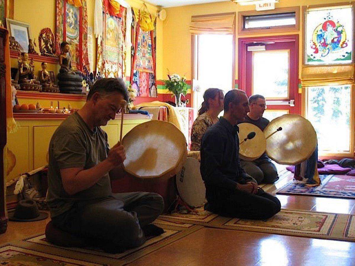 Buddha Weekly bc gaden choling Theodore Tsaousidis leading drumming Buddhism
