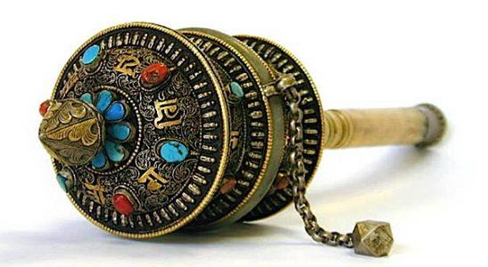 Buddha Weekly Antique prayer wheel jade and precious stone bone handle Buddhism