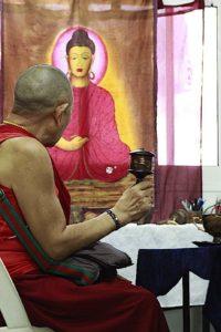 Buddha Weekly H.E. Garchen Rinpoche spinning wheel at Galgamani Art Project Buddha Poster Buddhism