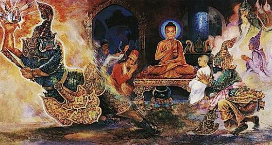 Buddha Weekly Angry celestial Ogre Alavaka tamed by the Serenety of Buddha Takes Refuge Buddhism