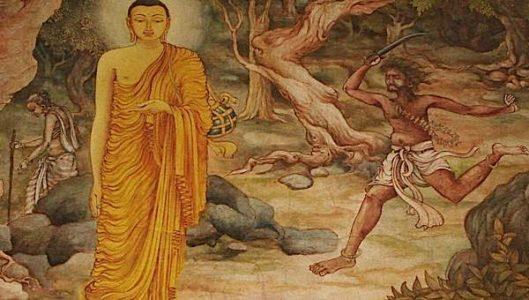 Buddha Weekly Angulimala chases Buddha to murder him as his 1000th victim Buddhism