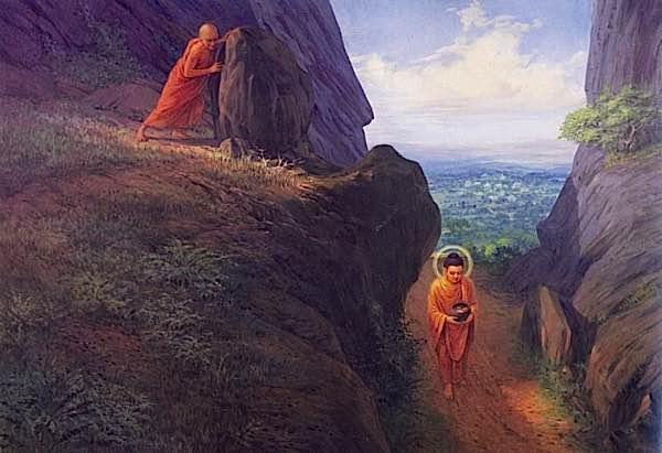Buddha Weekly Devedatta hurls rock onto Buddha Buddhism