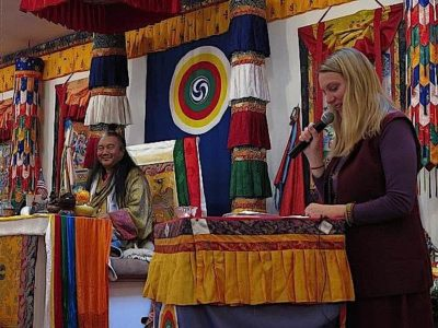 Buddha Weekly Lama Dr. Shannon Young teaching alongside her teacher Dzogchen Khenpo Choga Rinpoche Buddhism