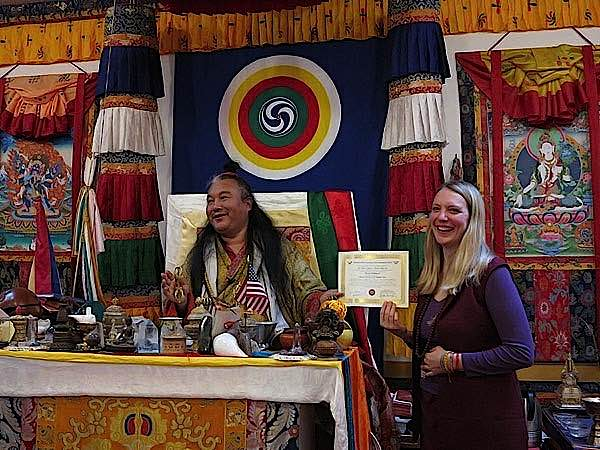 Buddha Weekly Lama Dr. Shannon Young teaching beside her teacher Dzogchen Khenpo Choga Rinpoche Buddhism