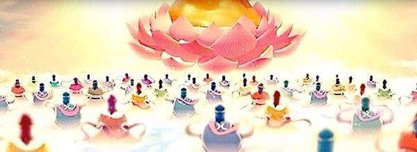 Buddha Weekly Buddha Amitabha on a lotus in front of followers in Sukhavati western pure land Buddhism
