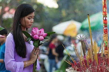 Buddha Weekly Flower and joss stick offerings to Buddha at temple Buddhism