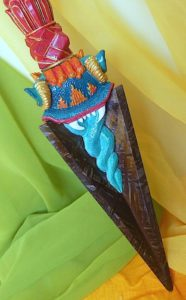 Buddha Weekly Meteoric iron phurba blade with painted handle Buddhism