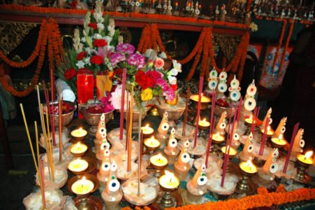 Offerings in front of altar