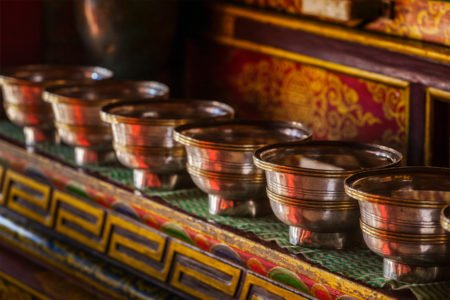 Tibetan Buddhist water bowl offering