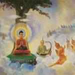 buddha teaching in heaven to devas