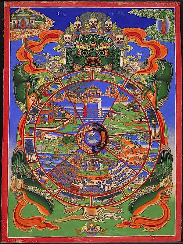 Buddha's 12 links of dependent arising illustrated in Tibetan style
