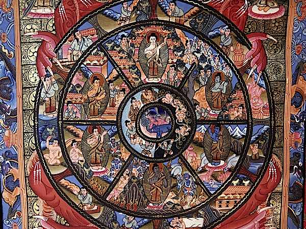 Buddha Weekly Detailed wheel of suffering and life with 12 links in outer ring Buddhism