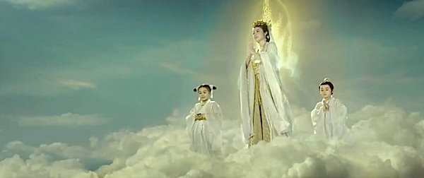 Buddha Weekly Guan yin in the clouds with her assistants Buddhism
