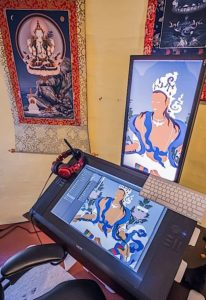Buddha Weekly Tangkha and digital on screen Jampay Dorje Buddhism